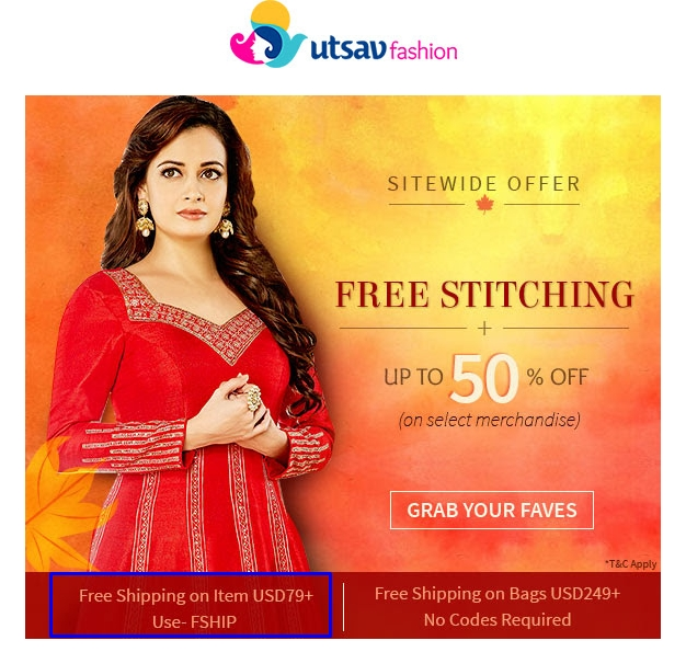 How to Apply Promo Codes at Utsav Fashion. 1. Add products to your cart at the Utsav Fashion site. 2. Find a promo code and click Show Code. Then click the Copy button to copy. 3. Go to your cart at the Utsav Fashion site and continue to checkout. Select the Promo Code box and paste your code. 4. Review your savings and finish checkout.