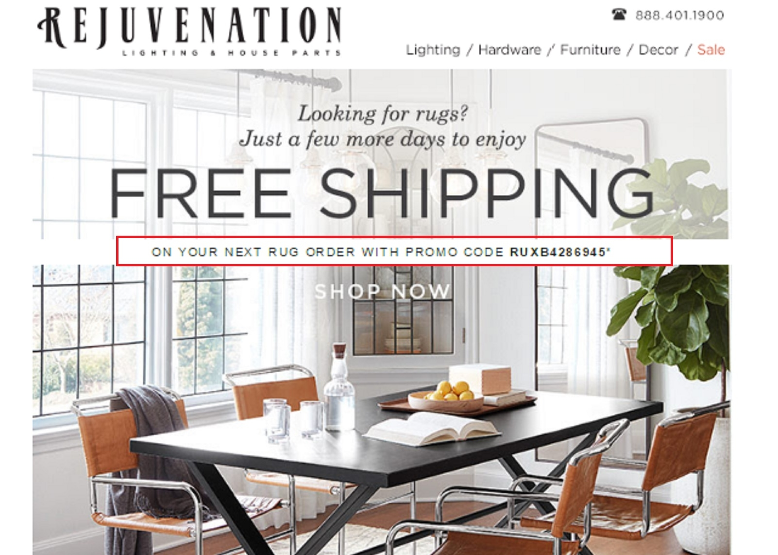 Shop at Rejuvenation until 03 December and get Up to 25% Off when you Buy More + Free Shipping using the code.
