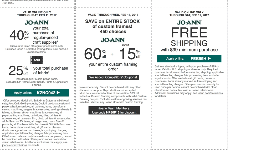 The JoAnn Power Plus Perks program has benefits like direct shipping, flexible payment plans, tax-free processing and bulk discounts for business or organization orders. 8. A JoAnn promo code is the way to go when you check out online.