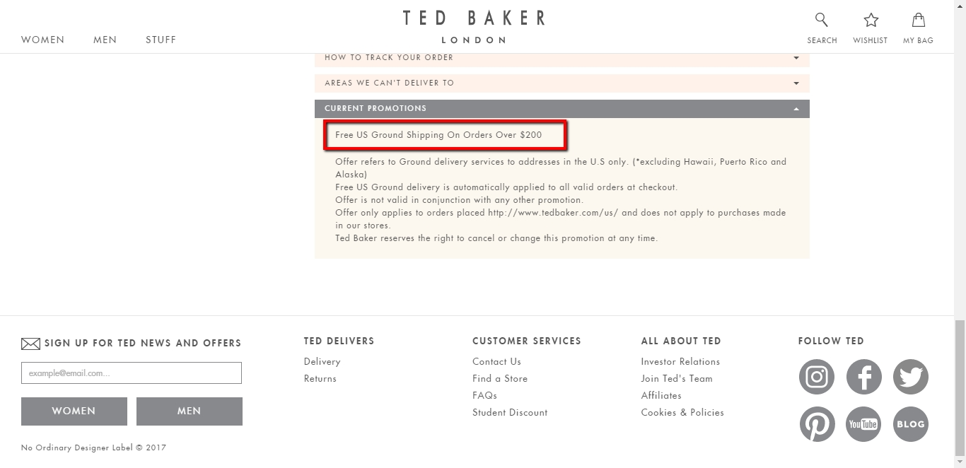 45% Off Ted Baker London Coupon Code | 2018 Promo Codes ...