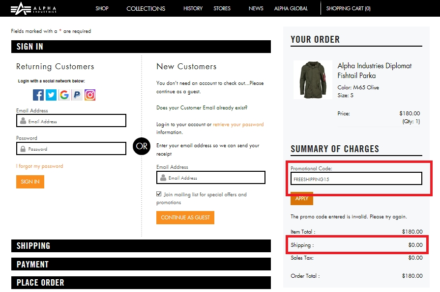 Alpha industries coupon code