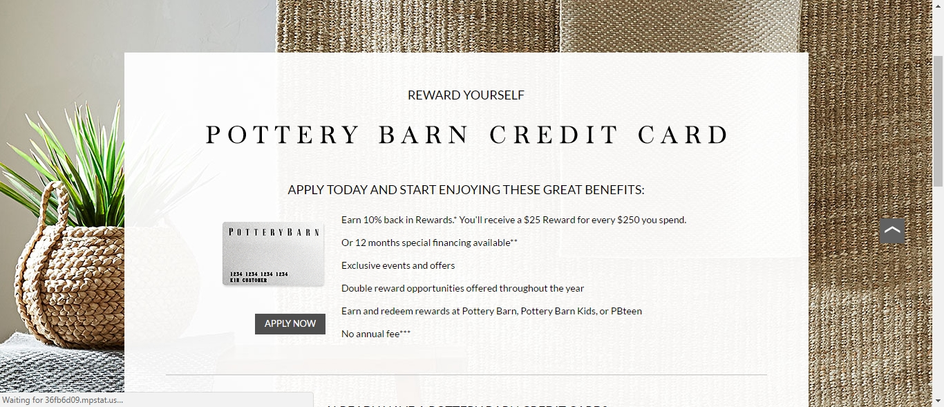Use the Pottery Barn coupon codes below to save when creating the comfortable spaces that reflect your unique sense of style. For more savings, check out our Pottery Barn gift card deals. Shopping Tips for Pottery Barn Returns: Pottery Barn offers an easy return policy that lets you return an item up to 30 days of receiving an order.