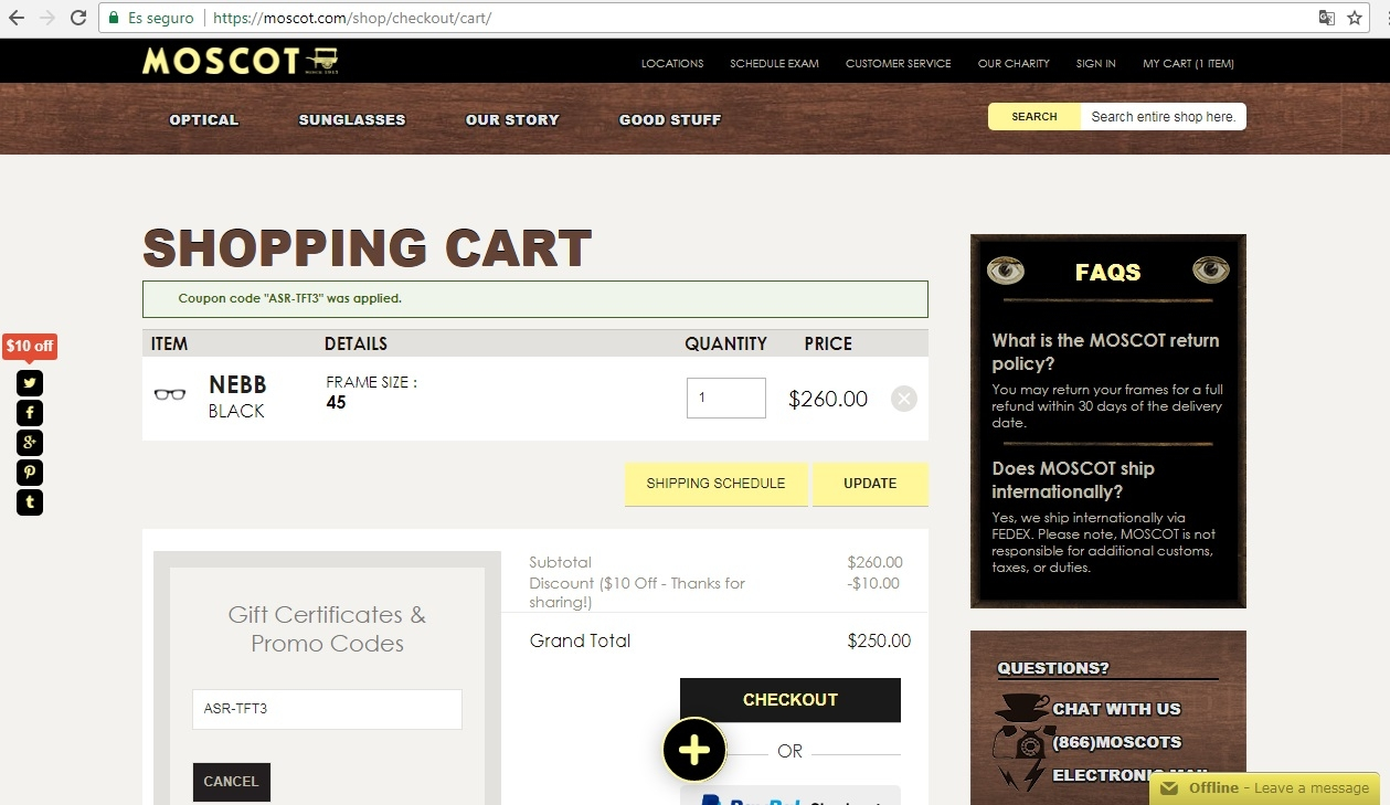 Moscot promo codes sometimes have exceptions on certain categories or brands. Look for the blue
