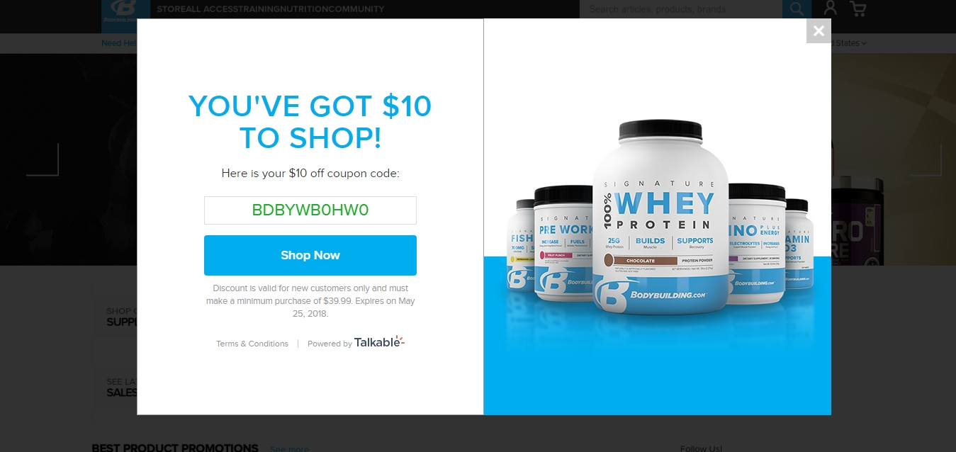 Bodybuilding.com coupon code 10