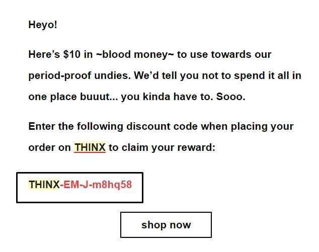 Thinx coupon code
