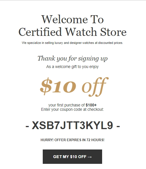 Discount watch coupons