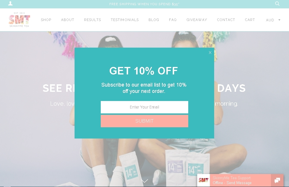 Skinny Me Tea is offering 10% Off Discount now, redeem the voucher & discount code at checkout. Go ahead to save at Skinny Me Tea with the promo code & discount. You can apply the discount code when you make payment.