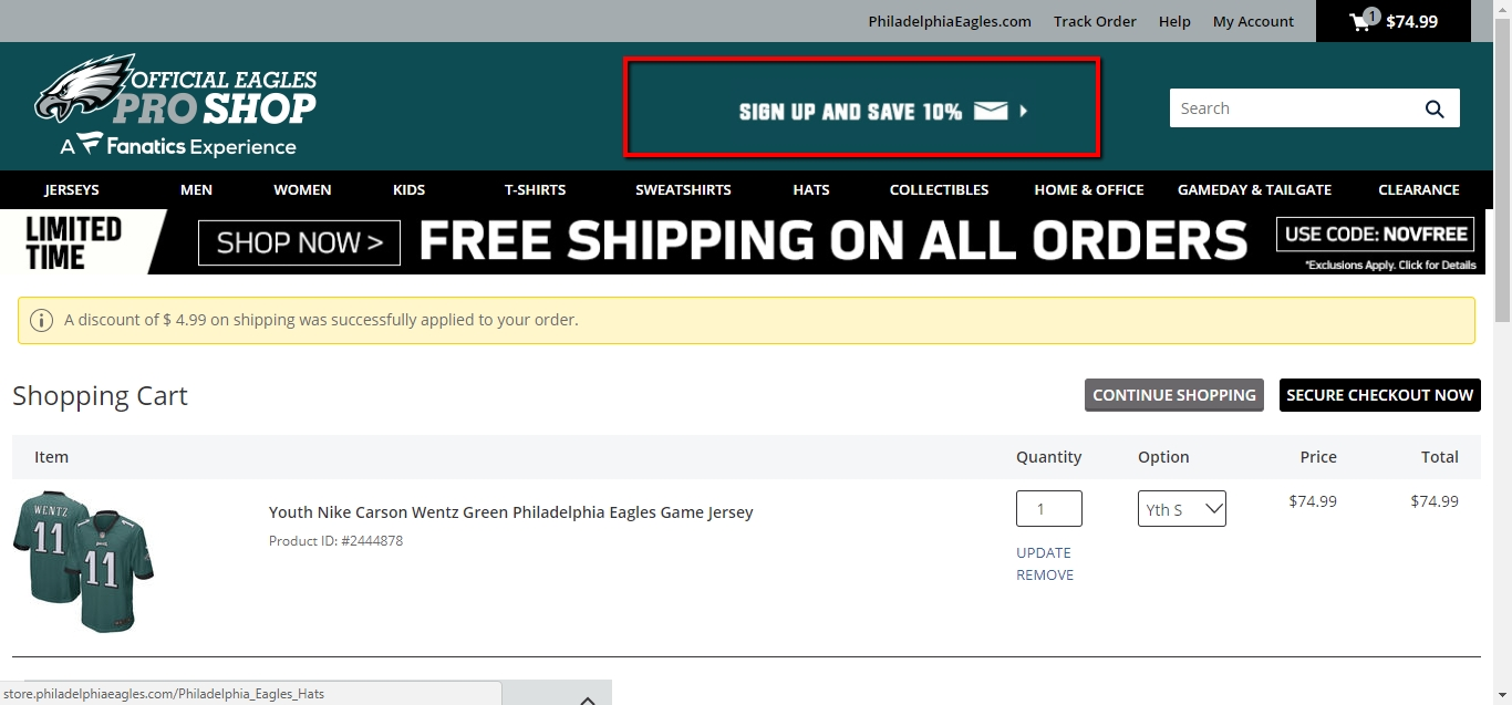 This code offers you 25% Off on Orders Over $29 + Free Shipping at Philadelphia Eagles Online Store. Discover amazing deals that will save you money, only from Philadelphia Eagles.
