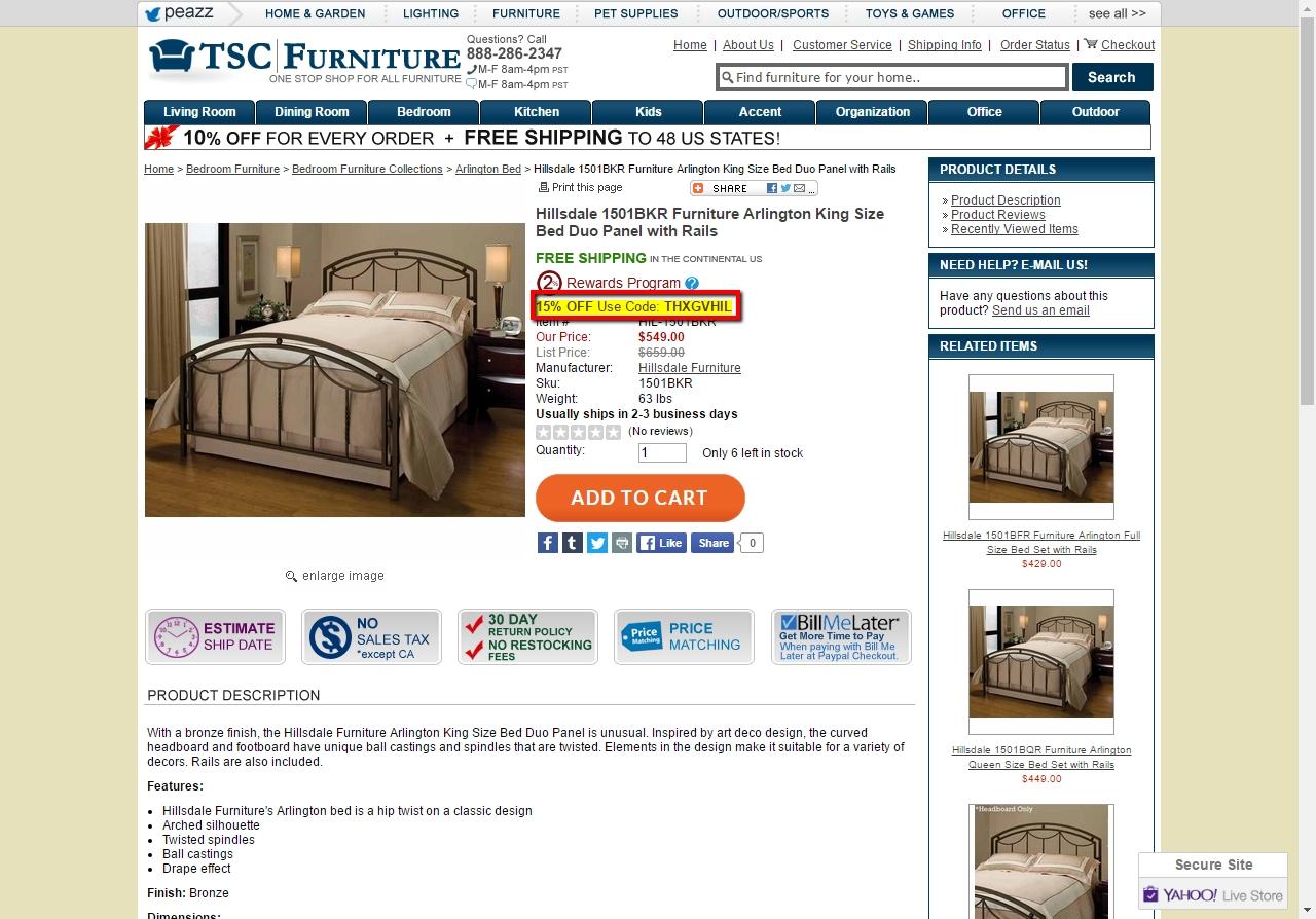 40% f TSC Furniture Coupon Code 2017 Screenshot