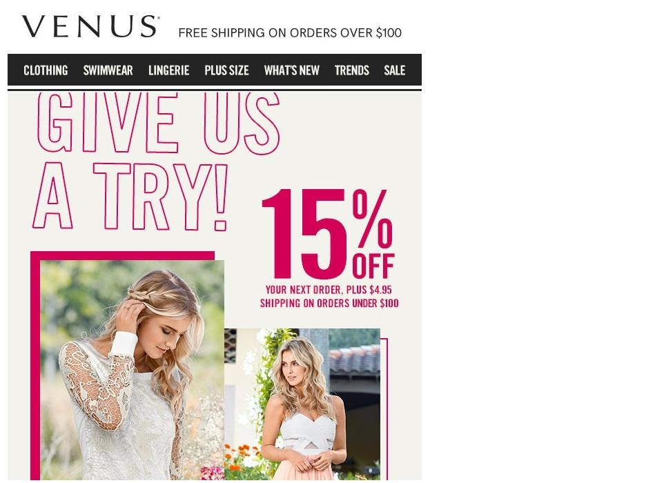 Venus coupon free shipping