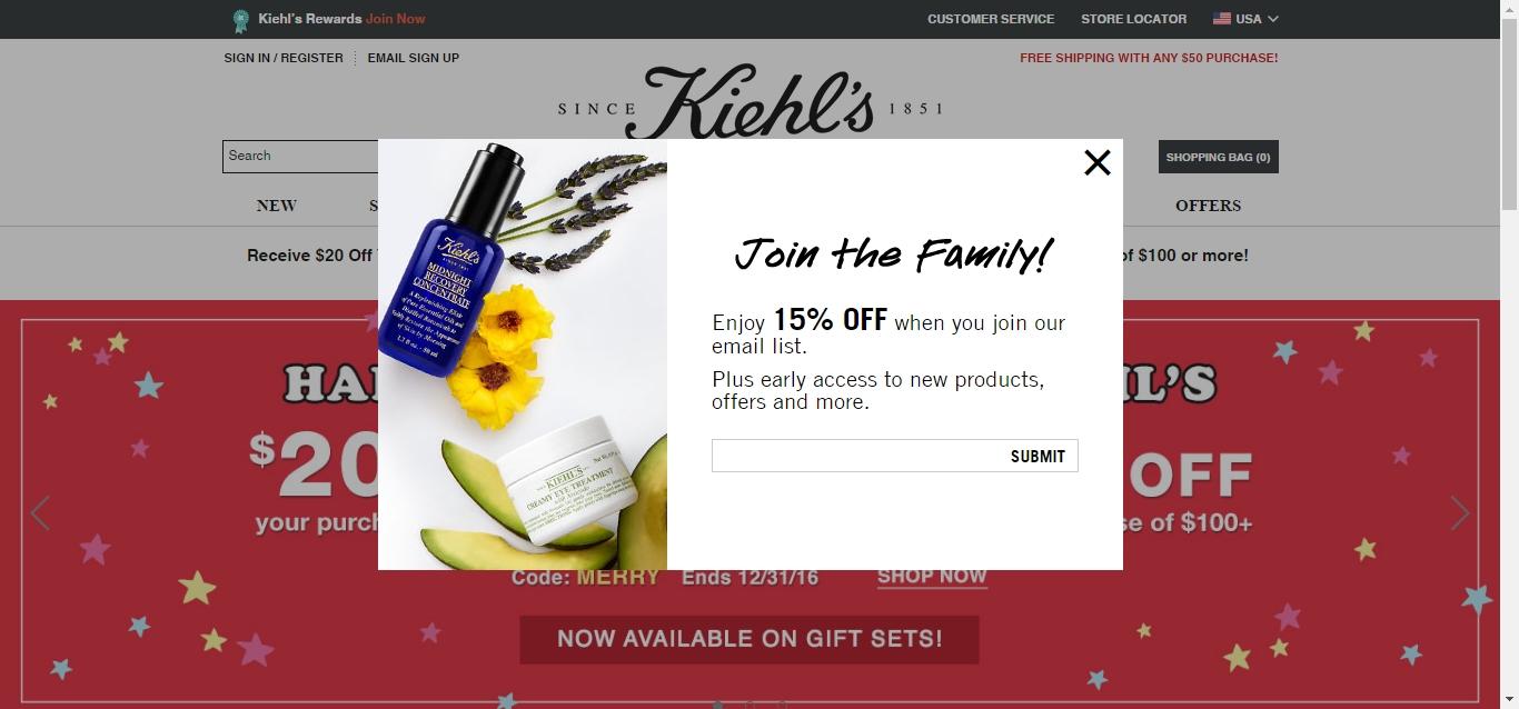 Kiehl's coupon 20 off 2018