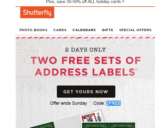Shutterfly address labels coupon code