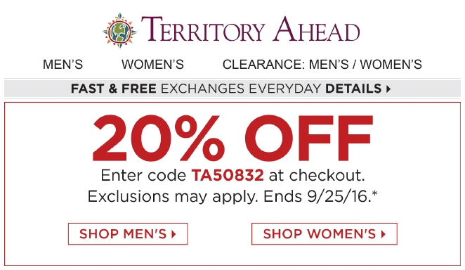 Territory Ahead Promo Codes for November, Save with 5 active Territory Ahead promo codes, coupons, and free shipping deals. 🔥 Today's Top Deal: Territory Ahead as low as $ at Amazon. On average, shoppers save $33 using Territory Ahead coupons from 2kins4.cf