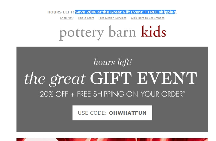 Use one of the Pottery Barn Kids promo codes for benefits like free shipping or gifts. While Pottery Barn Kids already has extremely reasonable prices, you can receive an even greater discount by using the current online codes for Pottery Barn Kids.