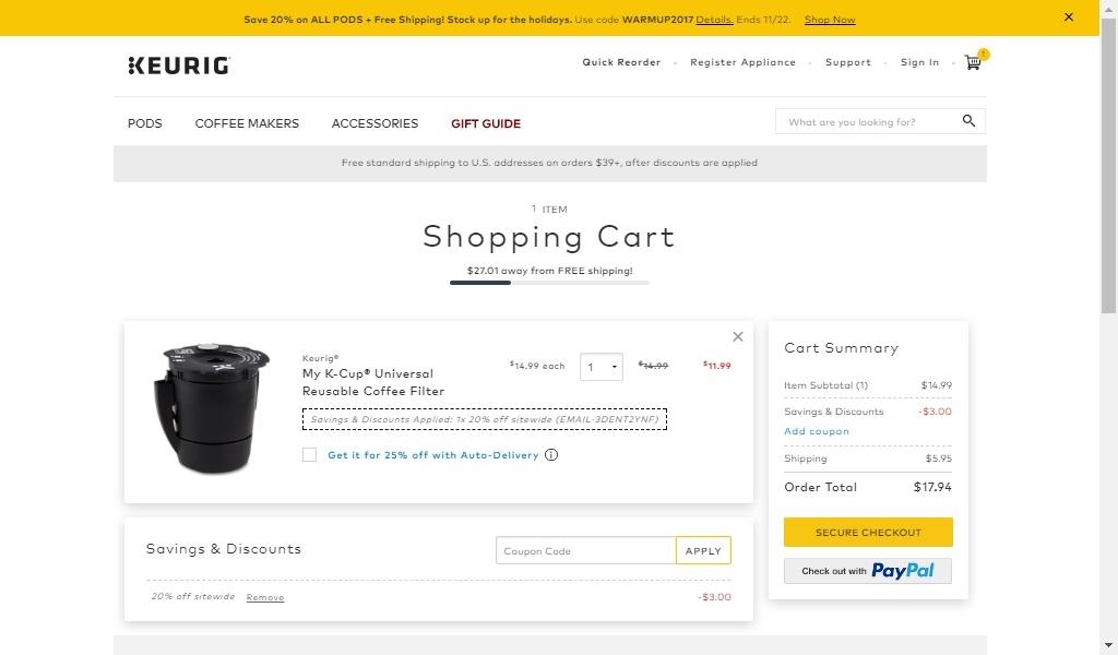 Keurig coupon codes 2018