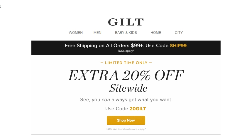 Gilt city coupon code