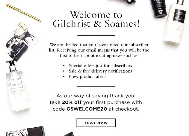 Shop with Gilchrist & Soames online coupons and stock the master bath, send a great gift basket, or pack your favorites for travel and enjoy luxury and savings. Comments for Gilchrist & Soames .