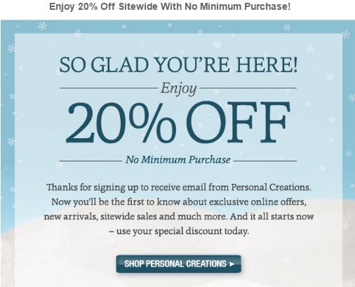 Personal creation coupon codes