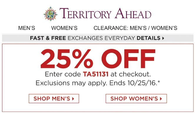 Details: Enter Promotion Code at checkout. 25% discount applies to your highest priced item when you buy three or more items. Customer must provide Promotion Code at point of sale to receive discount.