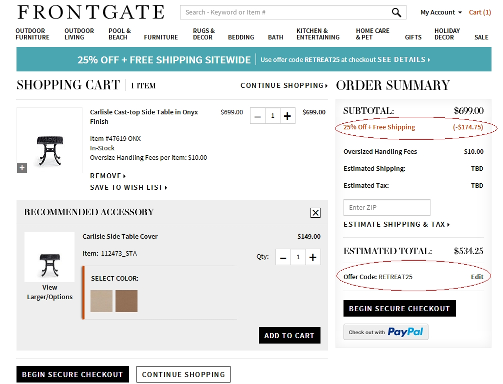 Frontgate coupon code free shipping 2018
