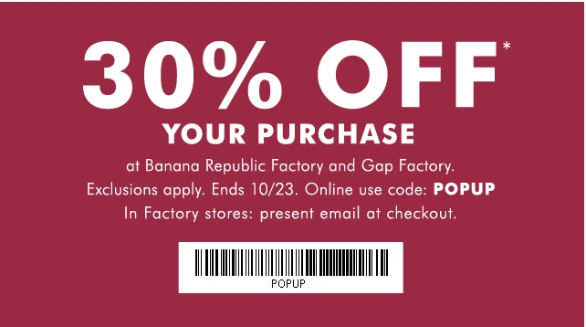 Jul 14,  · At Gap and Banana Republic you get 50% off in the regular stores, and 10% off on all clearance (in this case Sales and promos DO count as 10% unless stated otherwise.) In the outlet stores you get 30% off for all tentrosegaper.ga: Resolved.