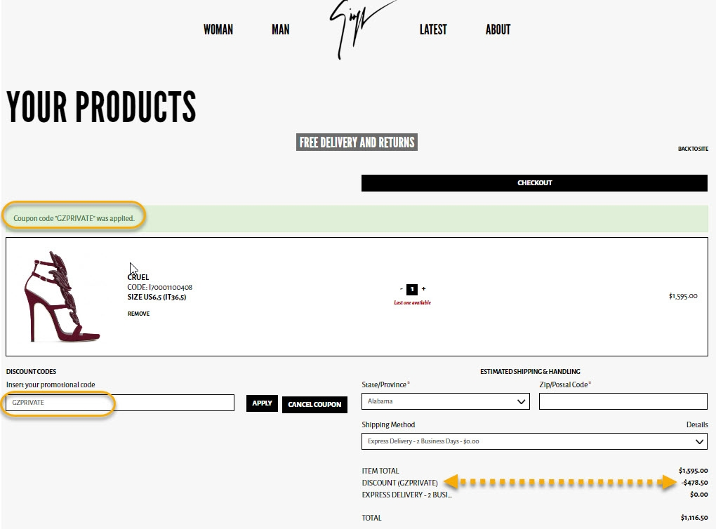 How to Use Coupons and Codes. How to use Gilt coupons and promo codes: Click on the shopping bag to see the summary of your order. Enter one of the promo codes below in the labelled field. Click APPLY to see your discount and continue checkout.