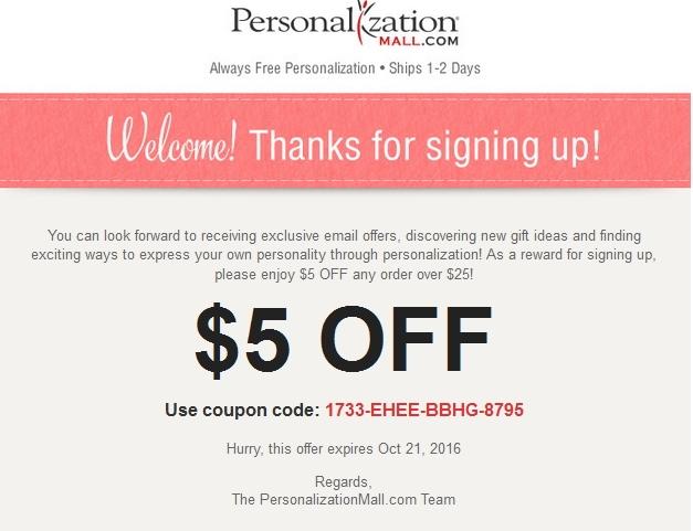 Personalization Mall Promo Codes 2016