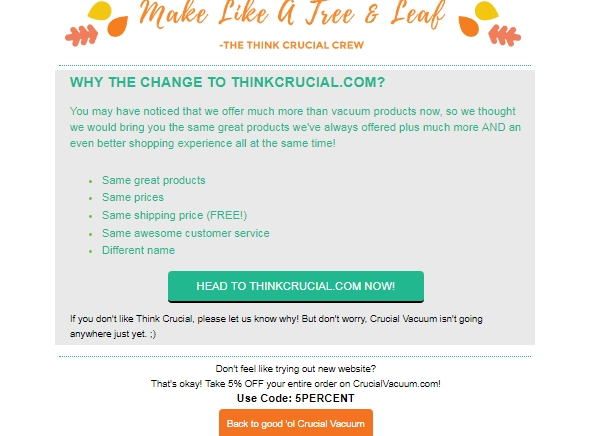 Get 10% off sitewide on your first order from Think Crucial with this coupon code. YAY Show Code. All Coupons (3) Sales (4) 5% Off. Code. 5% Off Sitewide. Ongoing Offer. Verified Featured. Details: Click