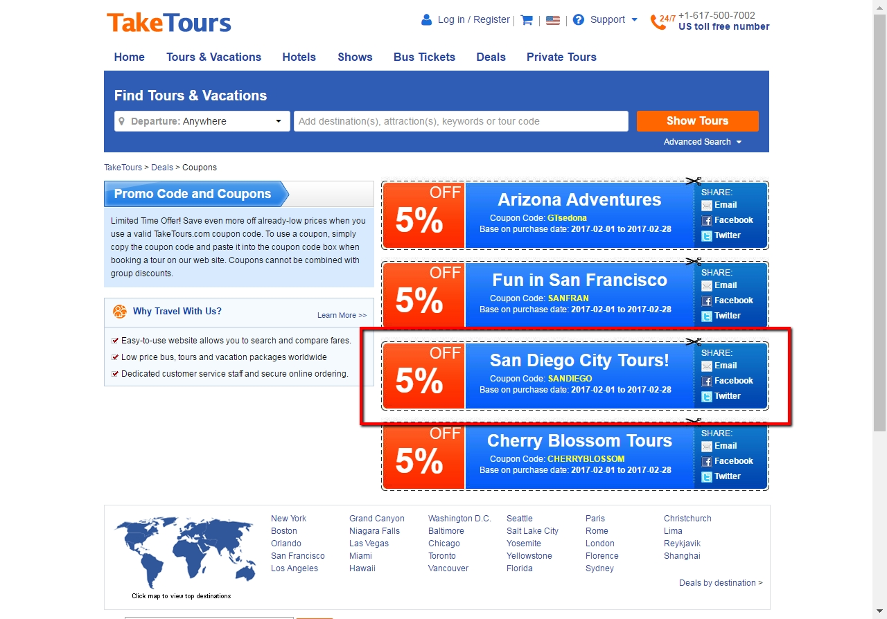 Welcome to Take Tours promo code page, where you can enjoy great savings with current active Take Tours coupons and deals. Today you can save an instant 25% Off discount with the most popular Take Tours discount code. There are fantastic 18 active Take Tours promotions, which are totally free for you to choose and use.