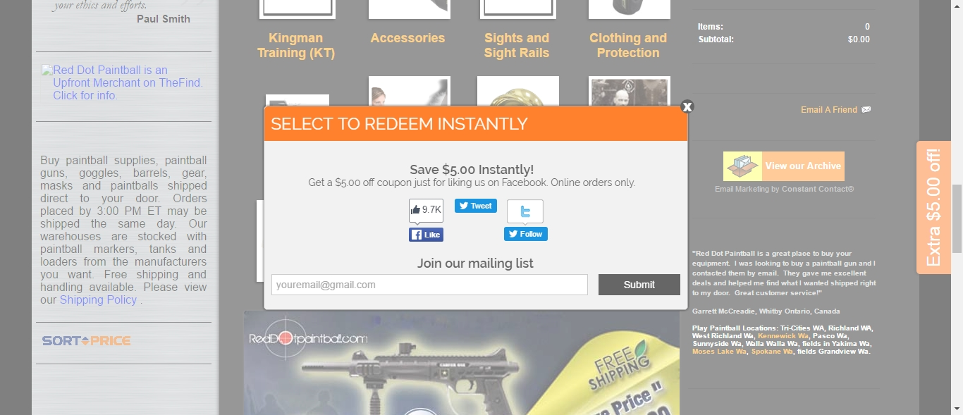 Red dot paintball coupons