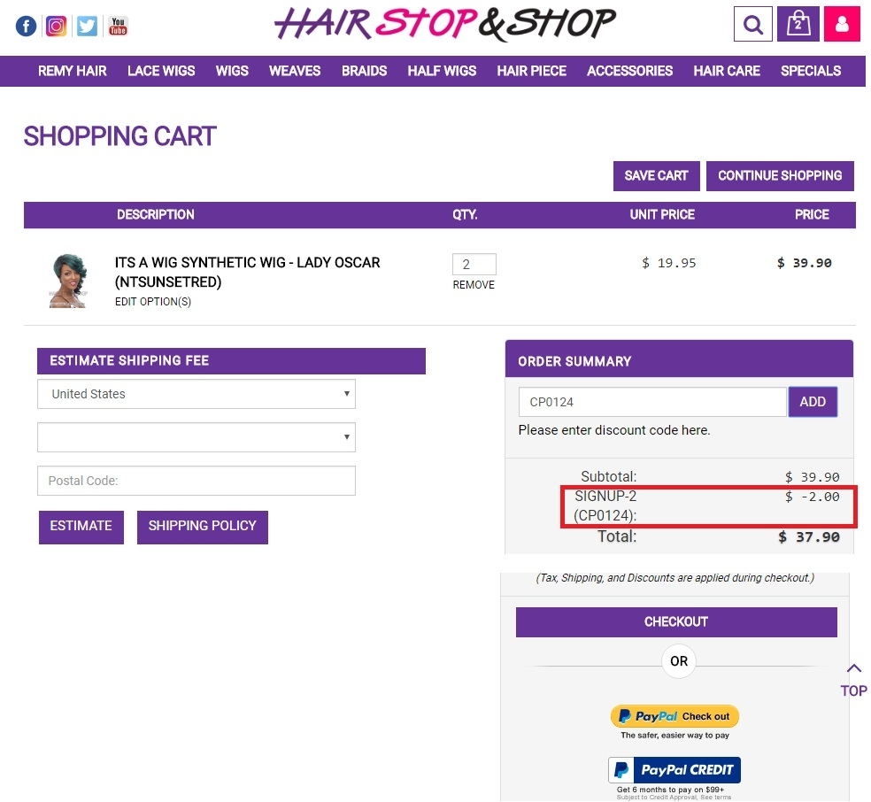 Hair stop and shop coupon code