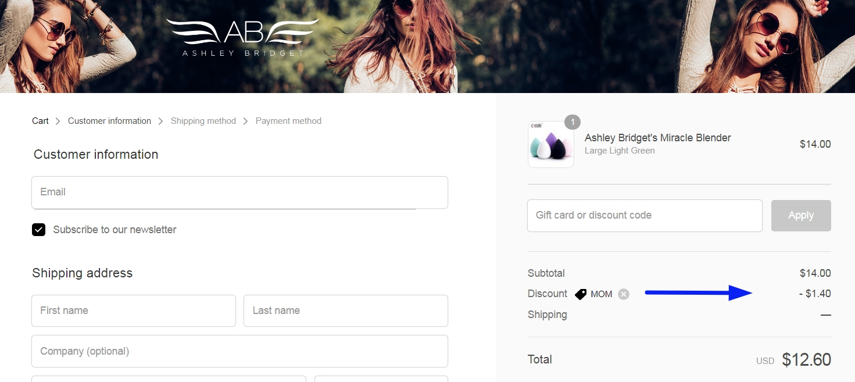 Ashley bridget coupon code