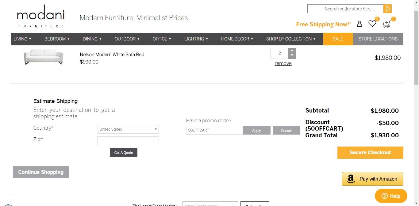 $50 f Modani Furniture Coupon Code