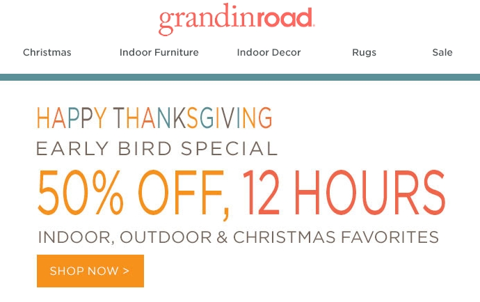 How to use a Grandin Road coupon Grandin Road offers a variety of opportunities for discounted products throughout the year. They have an extensive Grand Finale Outlet with items offered at a fraction of retail price. Signing up for emails gives you prior notice of special sales and discount 88%(35).