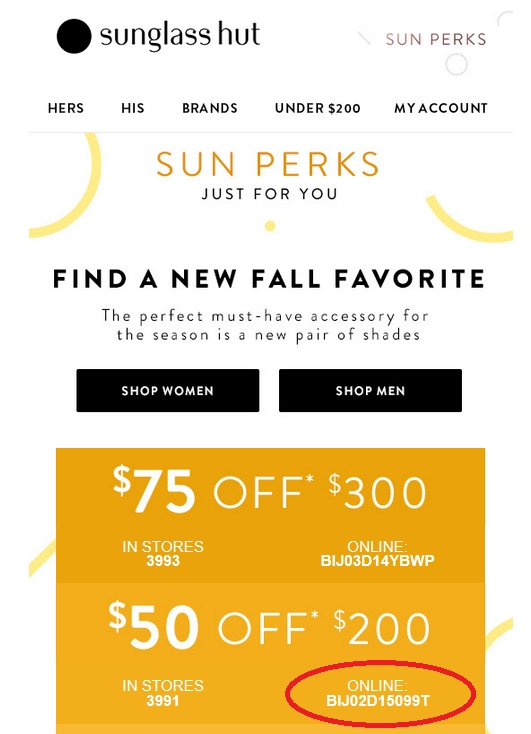 Sunglass Hut Savings Tips. When you first enter the website, you'll be prompted to join Sun Perks, the company's membership program. Members of the Sun Perks program get access to .