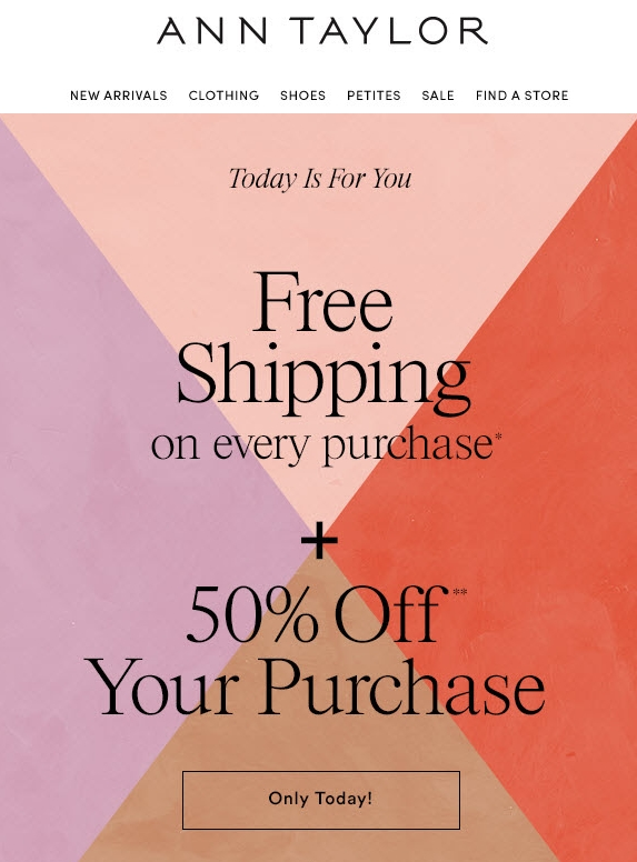 50% off Ann Taylor Coupons, Promo Codes November, 50% off Get Deal loweredlate.ml has the latest Ann Taylor coupon codes, including discounts of up to 40% on your entire purchase. Ann Taylor also has sales on already reduced merchandise. Save even more with Ann Taylor free shipping promotions, whether with a minimum purchase or a coupon code.