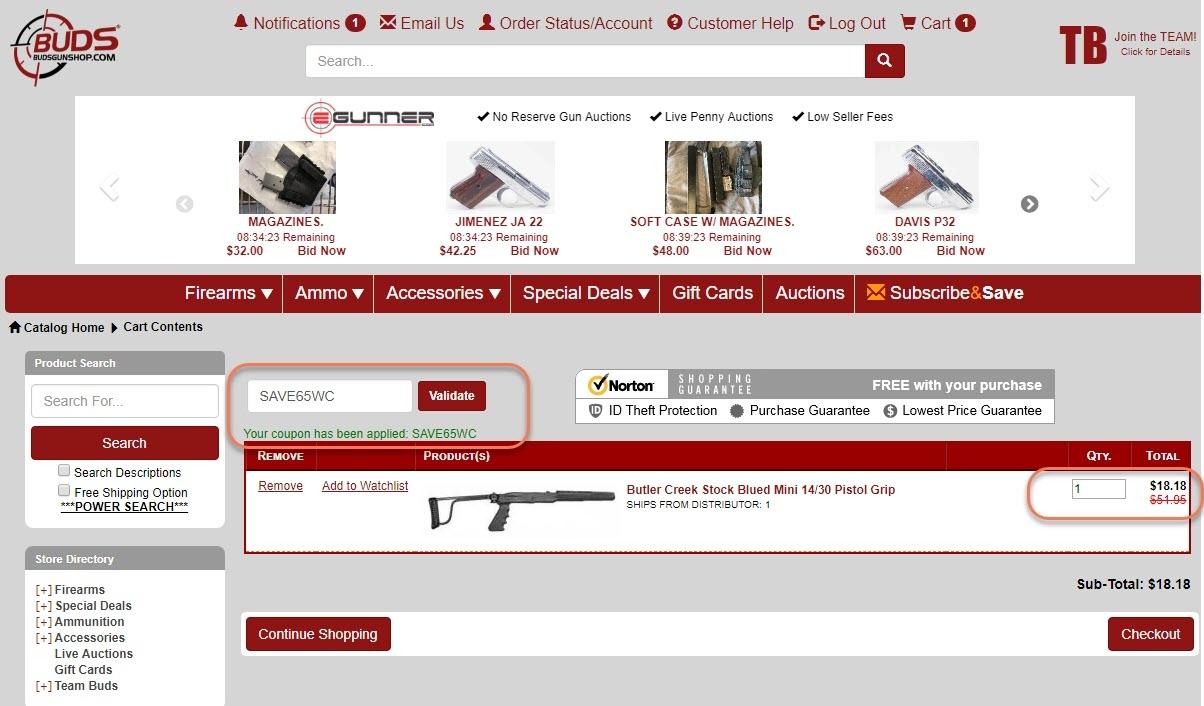 Buds gun shop coupon code