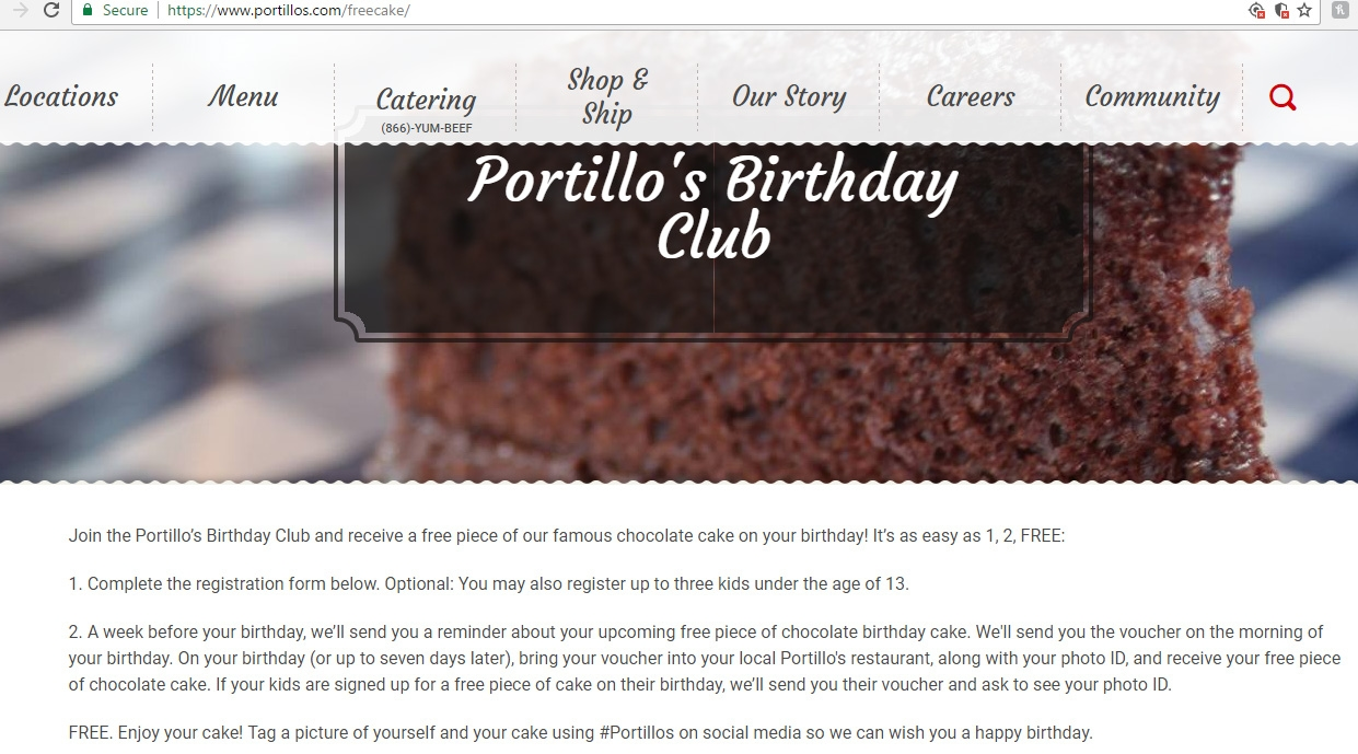 Portillo S Free Cake Birthday