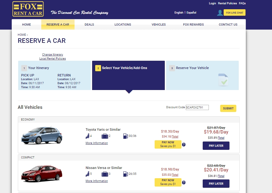Car rentals coupons discounts