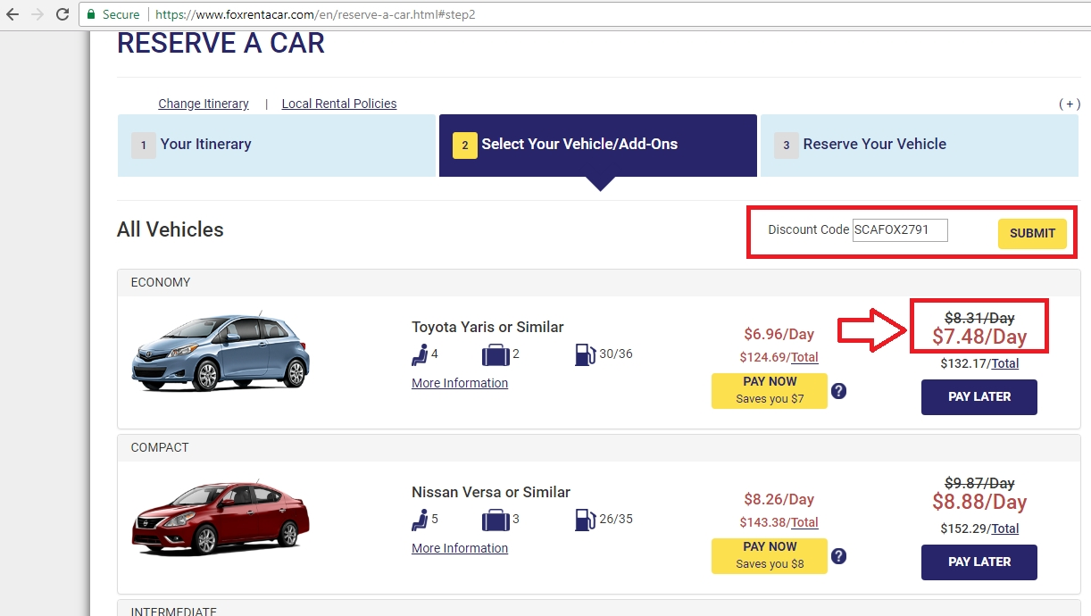Fox rent a car coupon code