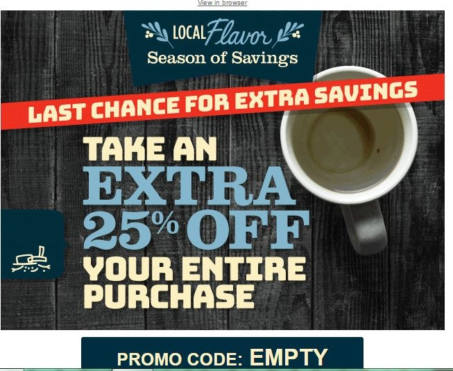 Local flavor coupon code $5