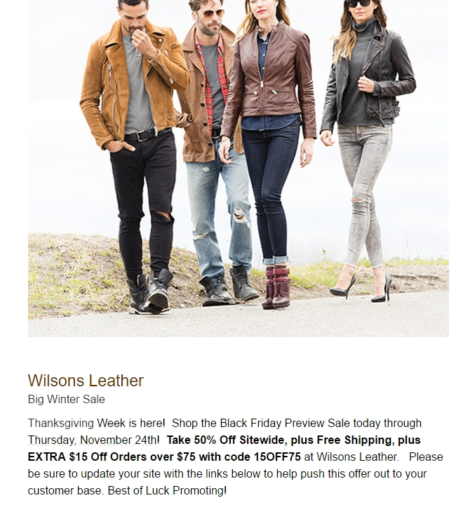 Wilson leather coupon 2018
