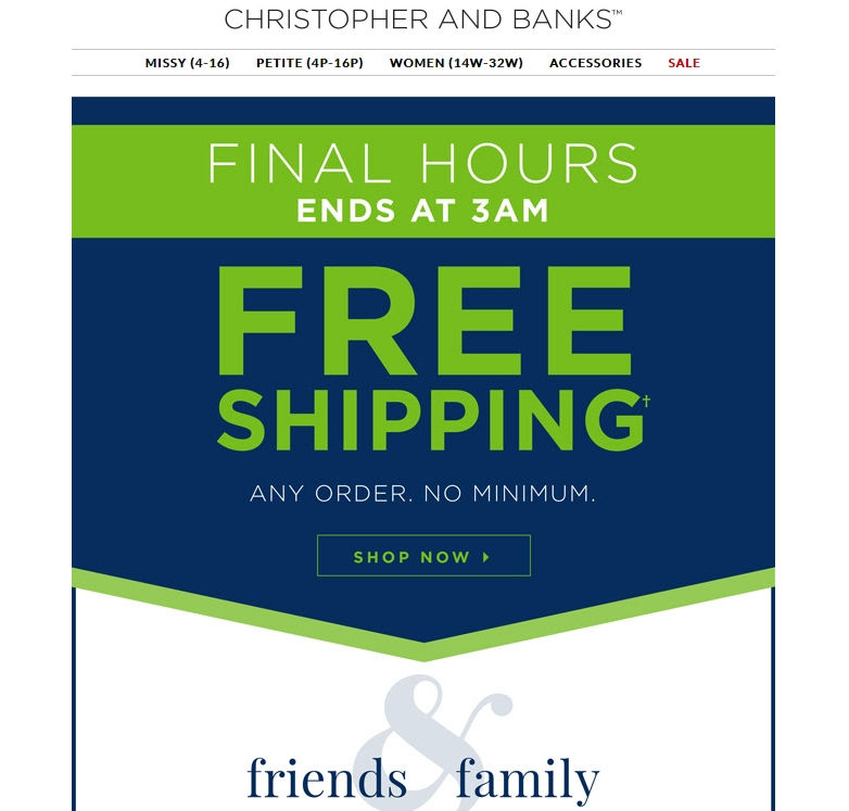 About Christopher and Banks Coupons, Deals and Cash Back Shop for comfortable, affordable casual women's clothing at Christopher & Banks. Find your new favorite outfit for less with free shipping offers and Cash Back at Ebates on misses, petites, and plus size women's apparel.