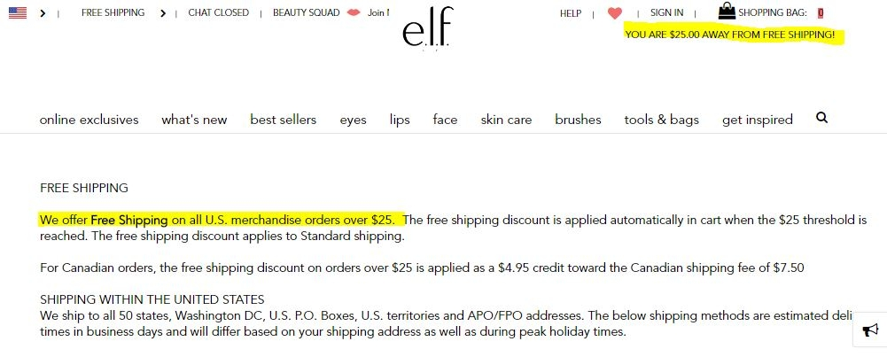 Elf cosmetics coupon codes 75 off