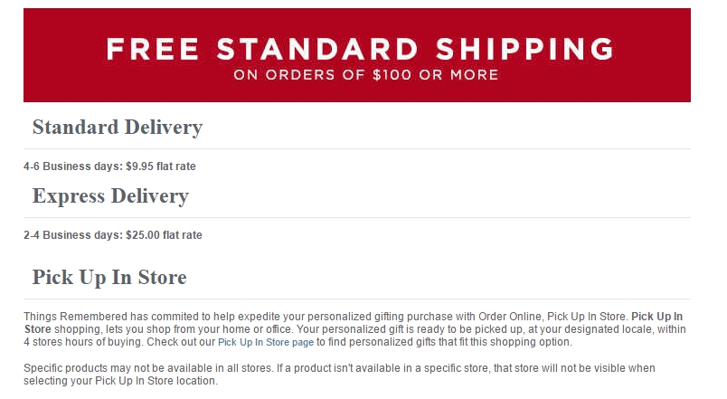 Coupon things remembered free shipping