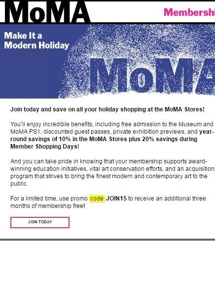 Moma discount coupon