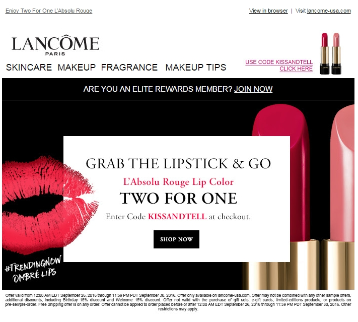 Redeem Your Lancome Promo Code. Add the items that you want to buy to your bag and go to your cart. On the cart page, look for the box titled