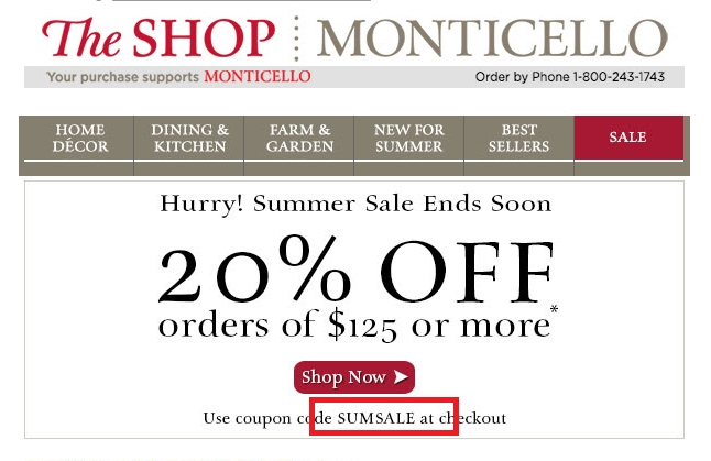 Unreliable Monticello Coupons