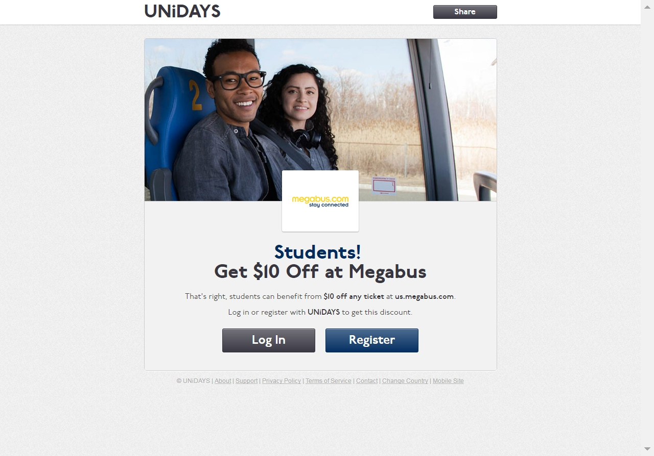 Register now and be the first to know when a Megabus student discount is available through Student Beans. Request Discount By requesting a discount you agree to these terms and conditions.