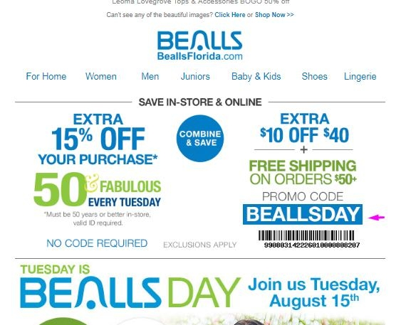 photograph relating to Free Printable Bealls Florida Coupon referred to as Bealls florida inside of shop printable discount codes - Fiber a person sale